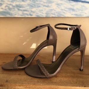 Stuart Weitzman grey plait leather stilettos